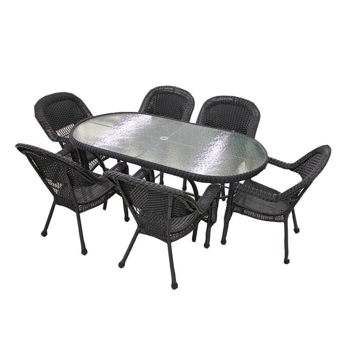 7 Piece Black Resin Wicker Patio Dining Set   6 Chairs And 1 Dining Table Part 53