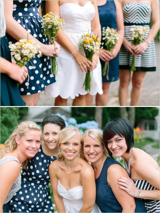 navy and white bridesmaid ideas http://www.weddingchicks.com/2013/12/10/green-and-yellow-wedding-2/