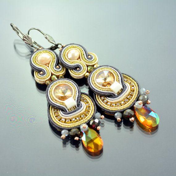 Long Gold Soutache Earrings - Long Beige Soutache Earrings - Long Dangle Earrings - Long Champagne Earrings - Unique Gold Soutache Earrings