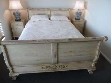 Antique cream rustic french provincial queen sleigh bedroom set | Beds | Gumtree Australia Singleton Area - Singleton Heights | 1124596839