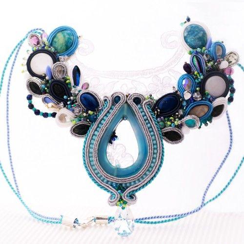 Biało-błękitny naszyjnik ślubny haft sutasz - Biżuteria ślubna - Biżuteria srebrna