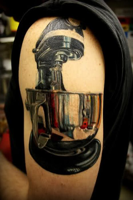 Garlic, chef's knives, and mixers - here are some very cool culinary tattoos.