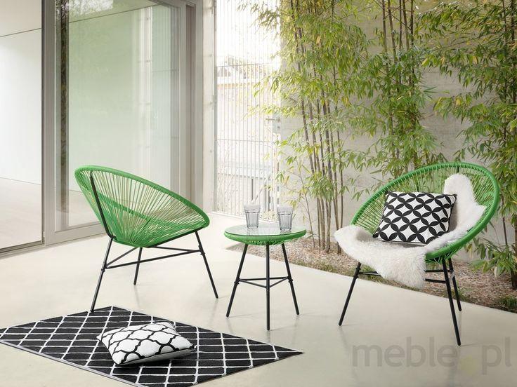 Meble ogrodowe zielone - balkonowe - stół z 2 krzesłami - ACAPULCO, Beliani - Meble