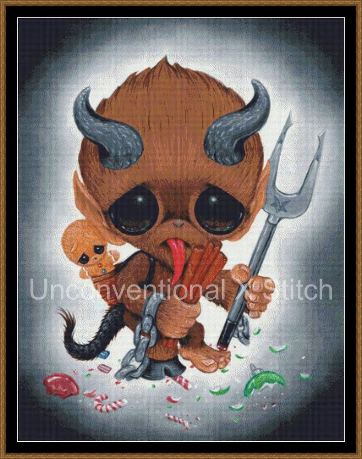 Krampus Christmas cross stitch pattern - Better not Pout Krampus -  Licensed Sugar Fueled by UnconventionalX on Etsy