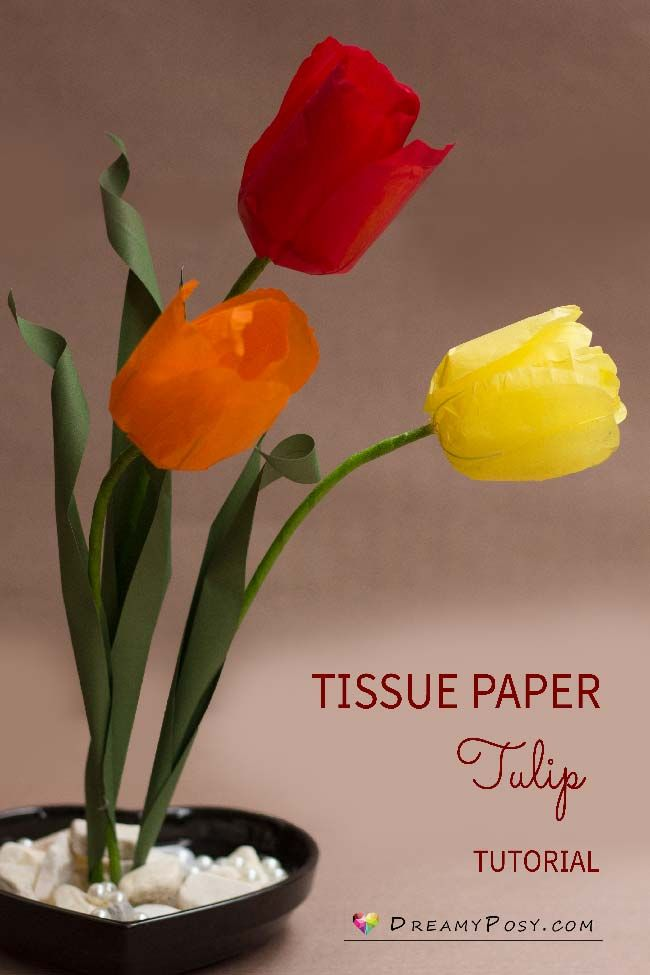 Tissue Paper Tulip Tutorial And Free Template Paperflowers Flowertutorial Flowertemplate Paper Flower Template Paper Flowers Diy Tissue Paper Flowers