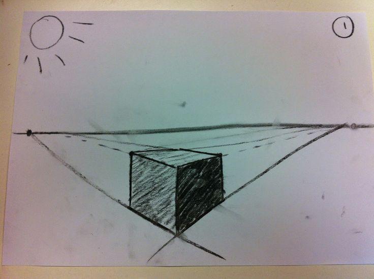 bij deze tekening zijn de kanten van het doosje gearceerd waardoor het lijkt alsof er daar schaduw is