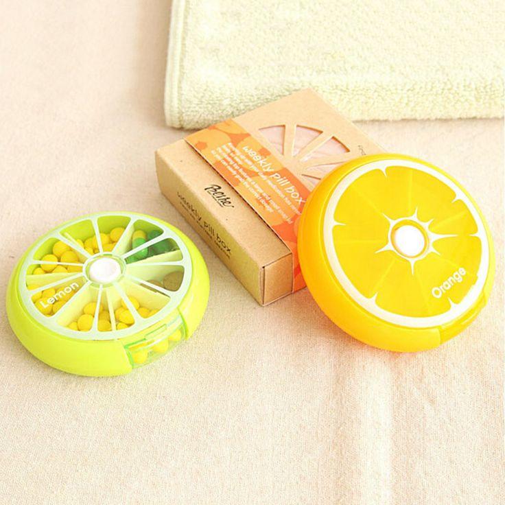 2016 Hot Sale Fruit Design Green Orange Pink Color One Week Pill Case Bag…