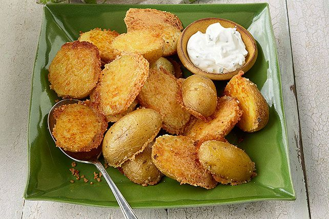 Looking to bring a new potato side to the table? Look no further. How to Make Crispy Parmesan Baked Potatoes cooking video. Parmesan. Potato. 'Nough said.