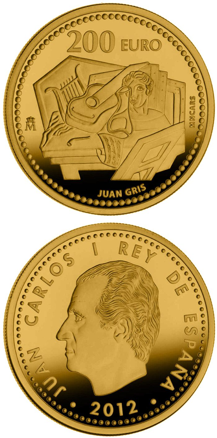 N♡T.200 euro: Juan Gris.Country:	 Spain Mintage year:	2012 Face value:	200 euro Diameter:	30.00 mm Weight:	13.50 g Alloy:	Gold Quality:	Proof Mintage:	4,000 pc proof Issue price:	775 euro
