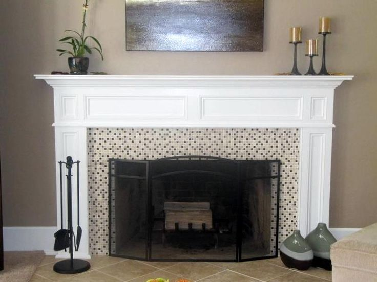 Franciscan wood fireplace mantel painted white different Fireplace surround ideas