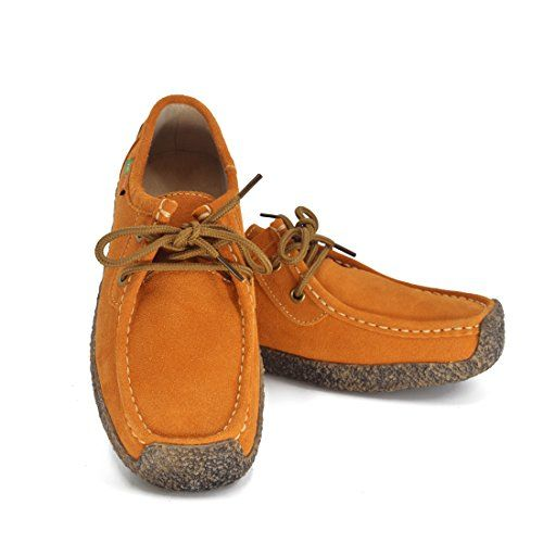 Susanny Flats Women Snail Casual Lace-up Genuine Leather Slip on Driving Loafer Orange Sneaker Shoes 9 B (M) US