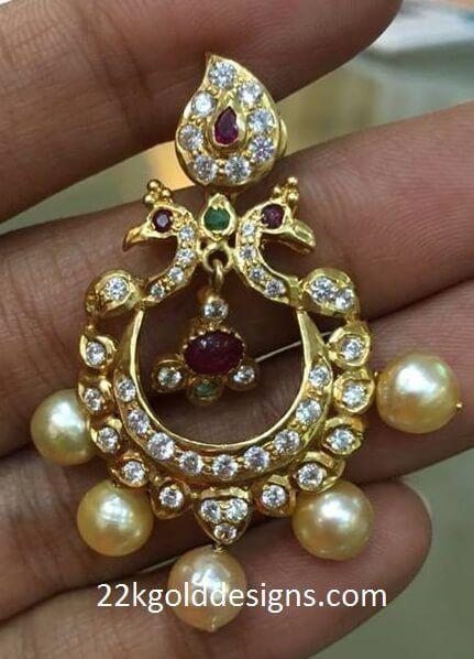 Indian Jewellery Designs: Peacock Chandbali Earrings