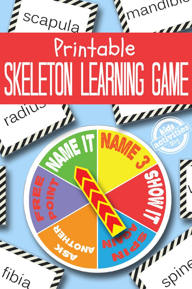 Learn about the bones in our bodies through play with this free skeleton printable game from Kids Activities Blog.