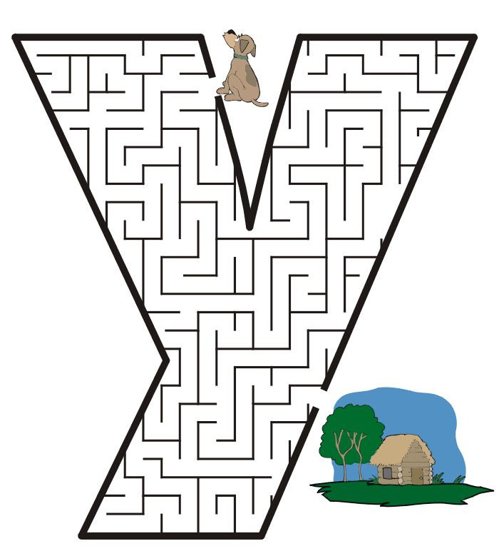 Letter Y Coloring Pages: Letter Y Shaped Maze From PrintActivities.com