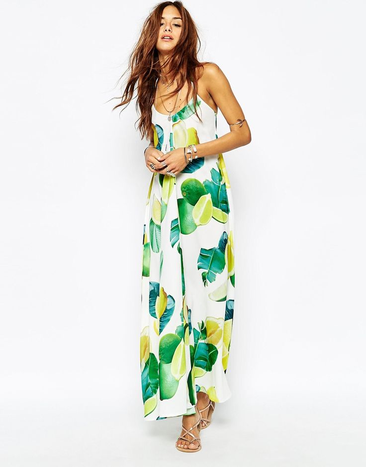 Kuccia Lemon & Lime Fruit Print Maxi Dress - wear this on a honeymoon!
