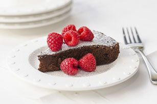 Dark Chocolate Mocha Cake with Raspberries