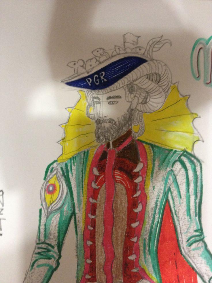 Particolare del costume ispirato al murales Mostro Marino disegnato da Alessandro Lonzi.