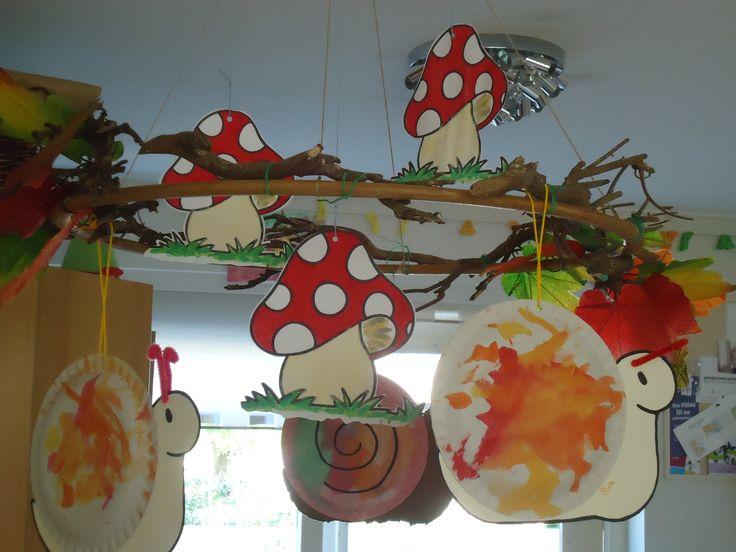 Versiering boven de groepstafel: Bevestig takken rond een hoepel en bevestig deze met 2 gekruiste touwen aan het plafond. De kinderen hebben de slakken gemaakt van papieren bordjes. De paddestoelen zijn uitgeknipte kleurplaten.