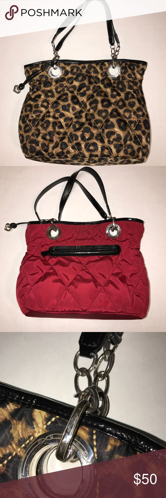 Brighton Animal Print & Red Reversible Tote Brighton Animal Print & Red Quilted Reversible Handbag. Quilted Fabric. A few stains on red interior. Zippered Pocket on Red side. The Silver finish is shipping due to the age of the bag. Brighton Bags Shoulder Bags