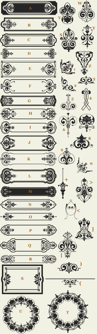 Letterhead Fonts / LHF Vintage Sign Elements / Classic Panels & Borders NOT FREE