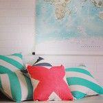 Pony Rider stripe mint cushion | tangerine X cushion | world map