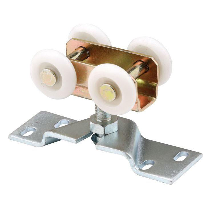 "1"" diameter plastic wheels Adjustable bracket is designed to mount on top of door Fits 1-3/16"" center to center double ""J"" track systems Top mount on Convex roller edge type Plastic roller material 1"""