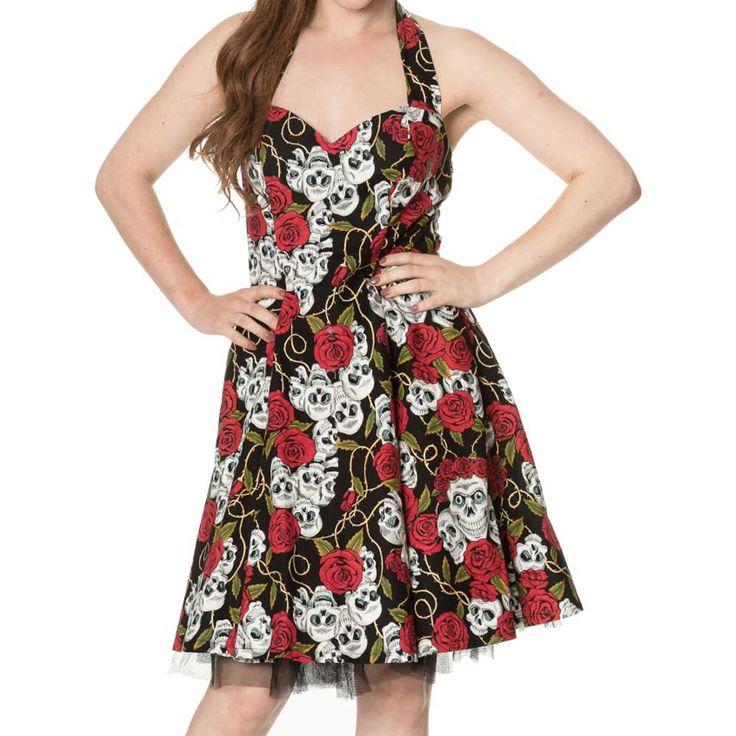 Green With Envy korte jurk met halternek en rozen schedels print zwart - Gothic Rockabilly