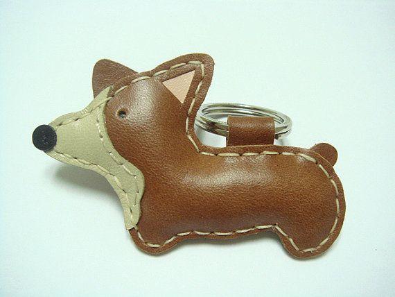 Leather Keychain Nana the Corgi Dog leather charm by leatherprince, $19.90