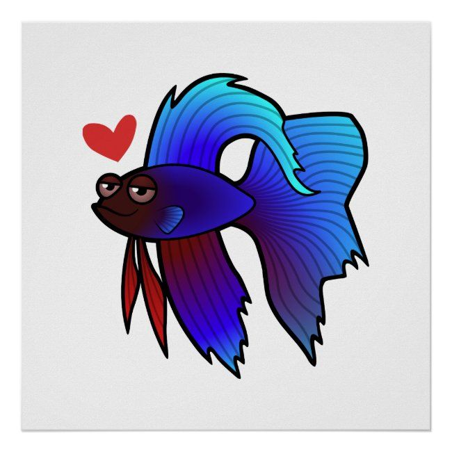 Betta Fish Siamese Fighting Fish Love Poster Zazzle Com In 2020 Betta Fish Siamese Fighting Fish Fish Cartoon Drawing