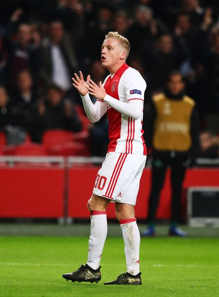 Donny van de Beek of Ajax reacts during the UEFA Europa League Group G match between AFC Ajax and Panathinaikos FC at Amsterdam Arena on November 24, 2016 in Amsterdam, Netherlands.