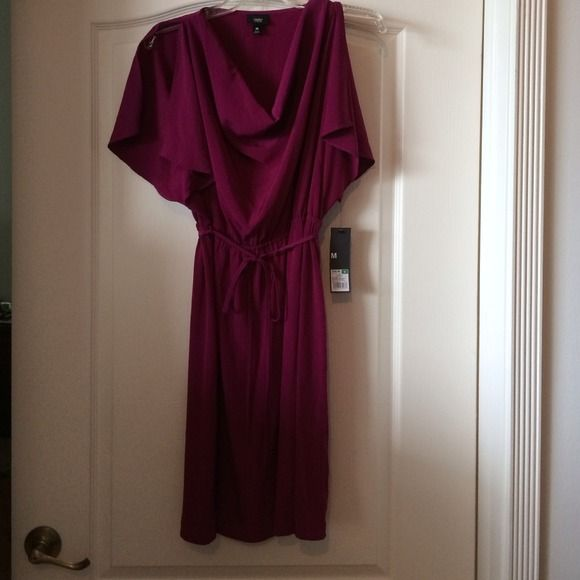 Mossimo berry flutter sleeved cowl neck dress Mossimo berry dress with flutter sleeves and flattering cowl neck line.  100% polyester.  Length comes to the knee.  Size medium. Mossimo  Dresses