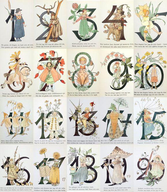 スウェーデン製。スウェーデン製 Ottilia Adelborg ポストカード2枚セット‐ナンバー 1~20[メール便対象品]