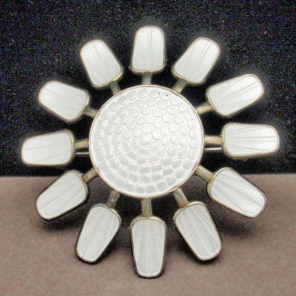 Flower Pin Sterling Silver Enamel Aksel Holmsen Norway Vintage White