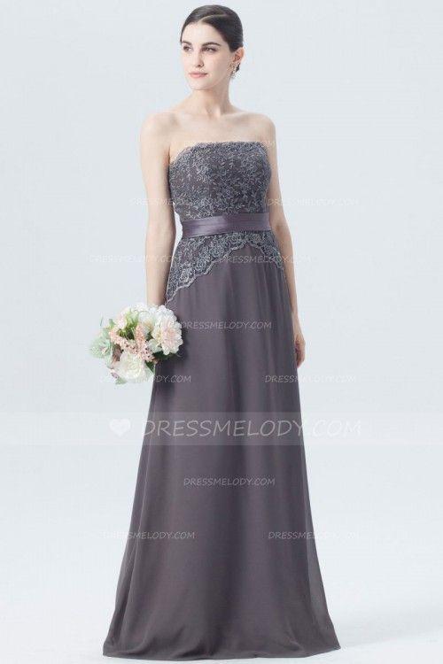 Elegant Lace Strapless Sleeveless Floor-Length Chiffon Bridesmaid Dress #wedding #weddingphotography #weddinghairstyles #weddingflowers