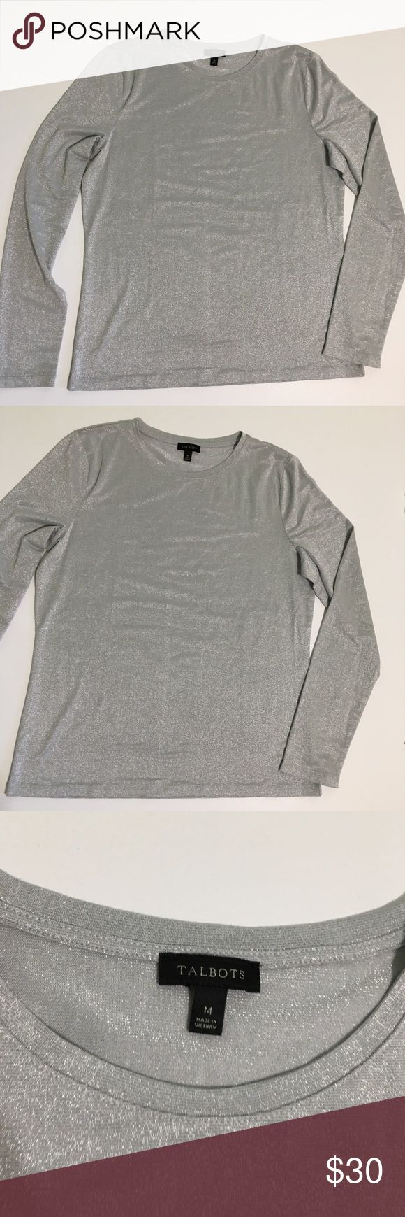 Talbots Silver Long Sleeve Top Pre Owned. No Flaws. Silver Detail material. Feel free to ask questions. Thank you for shopping by. Talbots Tops Blouses