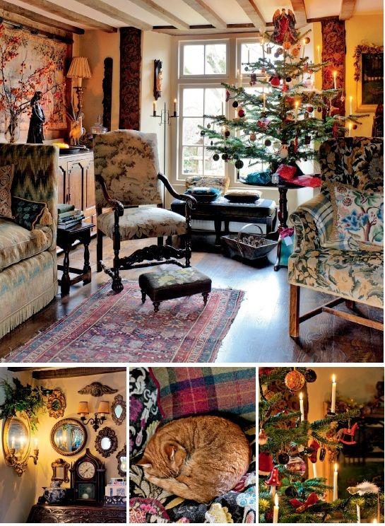 A charmingly decorated Christmas tree takes its Christmas England color cues from accessories in the room, such as the blue velvet cushion by the window, the embroidered cushion on the sofa and the red tapestry panels framing the bay window, – it's all give a wonderful cozy Christmas England country feeling.