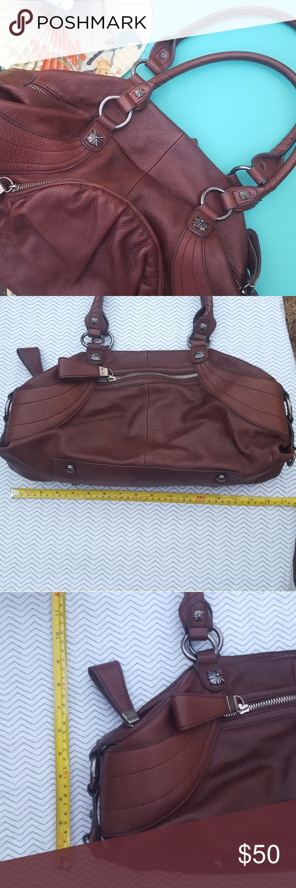 B Makowsky Handbag Brown leather B Makowsky Handbag. Small pocket in front and back. Pen mark and small spot noted in last 2 pics. A solid purse! B Makowsky Bags Shoulder Bags