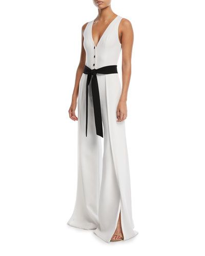 089499ef52a Designer Jumpsuits   Rompers at Bergdorf Goodman. ALEXIS MOE V-NECK  BUTTON-FRONT SLEEVELESS WIDE-LEG CREPE JUMPSUIT.  alexis  cloth