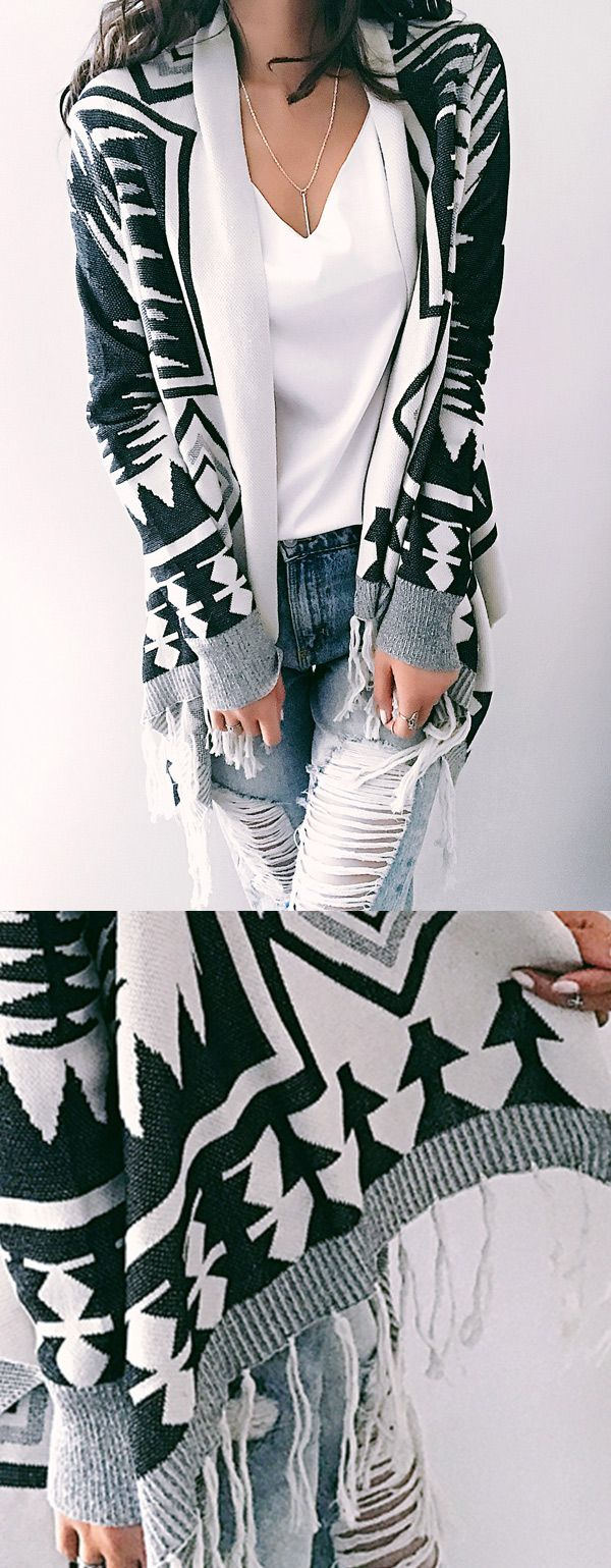 $33.99! Chicnico Fashion Geometric Irregular Long Sleeve Cardigan. Get ready for Fall fashion! Find fashionable outfits for the new