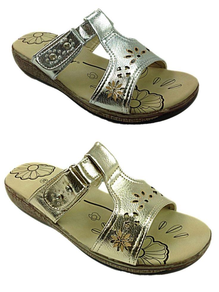 Ladies Faux Leather Look Peep Toe T Bar Gladiator Mule Summer Sandal Shoe Size | eBay