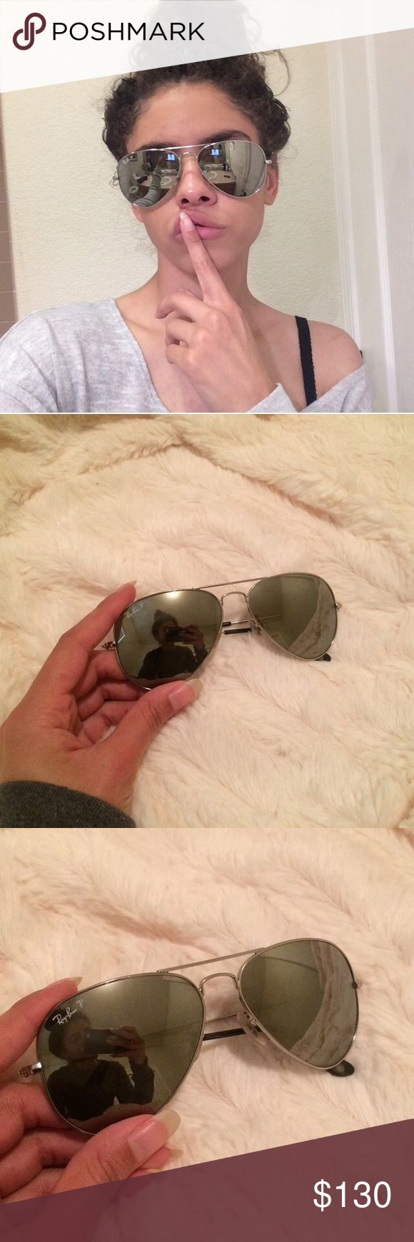 Charcoal silver Ray-Ban P aviator sunglasses💕 Charcoal gray/silver Ray-Ban P reflective aviator sunglasses 🌸 worn once,10/10 condition! Ray-Ban Accessories Glasses