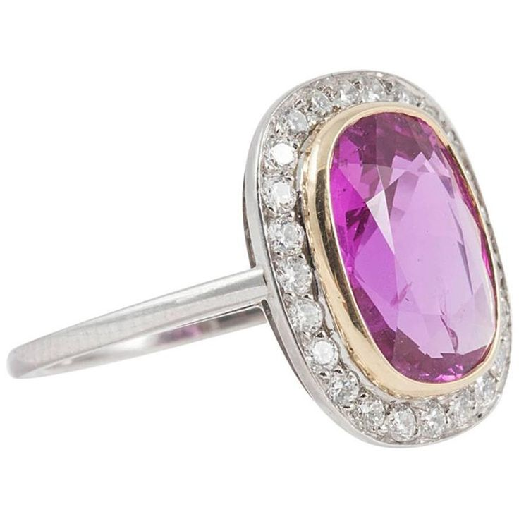 Natural No Heat 4.31 Carat Pink Sapphire Diamond Ring   From a unique collection of vintage cluster rings at https://www.1stdibs.com/jewelry/rings/cluster-rings/