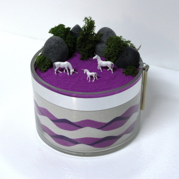 Unicorns in a Purple Field Zen Sand Garden by DesktopGardens, $35.00