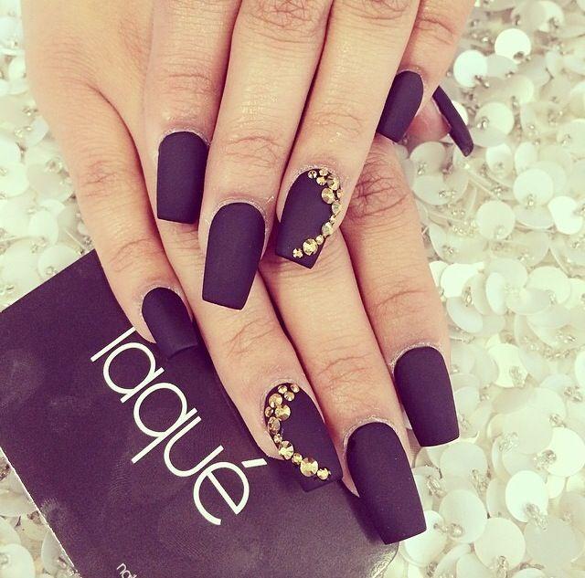 Deep plum matte nails with Swarovski