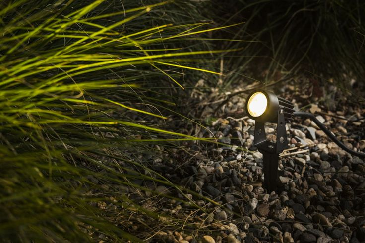 GUN | rendl light studio | LED mini-spotlight on a spike for outdoor use. The length of the spike is 16 cm. The fixture comes with a 1m long power cord with no plug at the end. #spotlight #garden #LED #spike