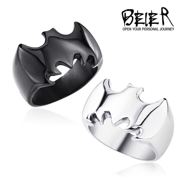 Black/Silver Batman Ring for Men 316L Stainless Steel Hot Movie Jewelry for Man and Boy Movie Jewerly BR8-226