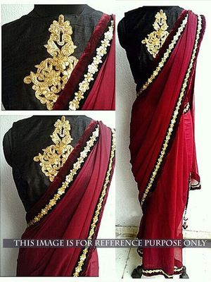 NEW LATEST RED COLOR 60GM GOERGET EMBROIDERY WORK SAREE Bollywood Sarees Online on Shimply.com