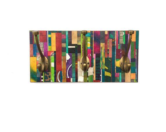 Entryway Coat Rack  Mosaic Wall Hanging  Handmade Paper by calyrew