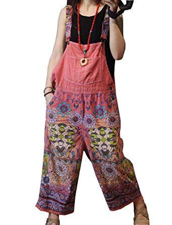 d54b92cc9a4 Amazon.com  Flygo Women s Loose Baggy Denim Wide Leg Drop Crotch Printed  Bib Overalls Jumpsuit Rompers  Clothing