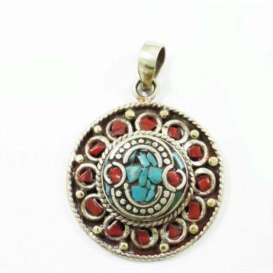 Mosaic Turquoise Tiles Silvertone Jewelry Nepal Fashion Pendants Jewellry Gift